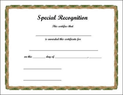Blank Certificate Of Recognition Templates